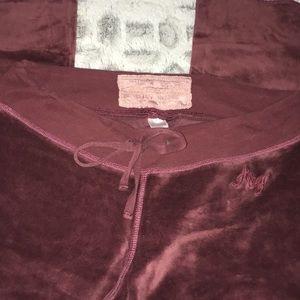 Abercrombie & Fitch Pants - Abercrombie burgundy Velour Lounge Pants